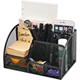 QLOUNI Desk Organiser/Mesh Desk Tidy Candy/Pen Holder/Multifunctional Organiser with 7 Compartments, Multifunctional Statione