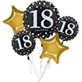 amscan 10118406 Gold Foil Balloon Bouquet with 18th Birthday Celebration Design-5 PCs