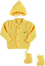 Vadmans New Born Baby Woollen Knitted 3 Piece Set (Sweater, Cap with Botties Set) (Yellow)