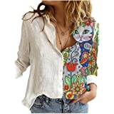 Comaba Women's Button-Front Long Sleeve Floral Print Fashion Lounge Shirts