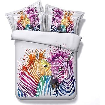 Parure De Lit Zebre Blanc 3d Colore Animal Imprime Housse De Couette
