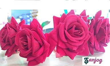 Sanjog Flower Red Gracious Tiara/Crown Head Wrap for Wedding Party Beach for Women Girls