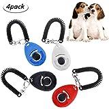 WisFox 4 Pcs Profi Clicker mit Elastischer Handschlaufe Haustier Hundetraining Clicker Big Button Clicker mit Handgelenk Band Strip für Haustier Clicker Training