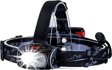 Litom LED Stirnlampe LED Kopflampe wasserdicht Stirnlampe USB Wiederaufladbare Kopflampe rotlicht Kopfleuchte,mit Geste Sensor Funktion und 6 Modi zu wählen, perfekt für Laufen, Camping, Lesen, Laufen,Joggen, usw.