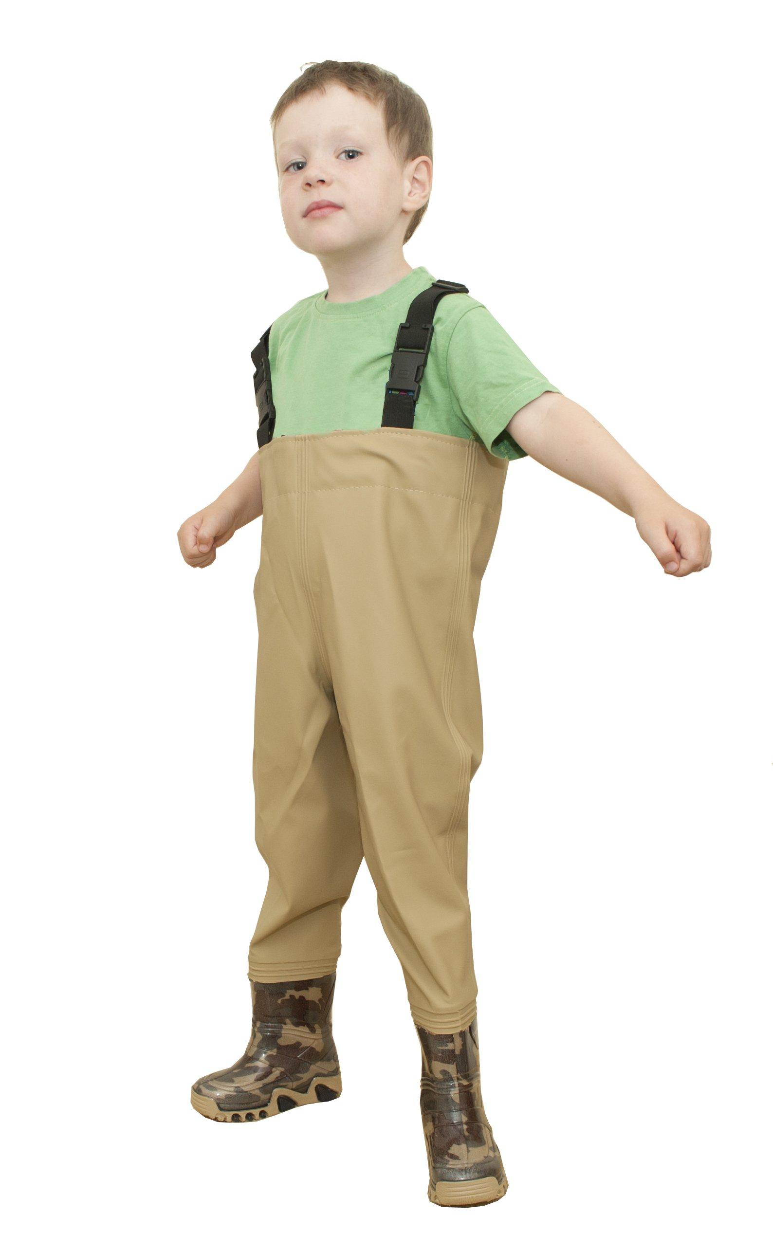 Per bambini da pesca stivali ascellari da pesca, da pesca stivali Splash dimensioni 22-35 EU, Cachi,