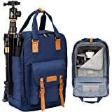 TARION M-03 Kamerarucksack Kameratasche Reiserucksack Alltagstasche Wasserabweisend aus Leinenstoff (Maße:43x28x15cm) Blau für DSLR & Zubehör oder Reise Wanderung