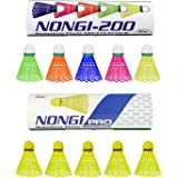 Nongi ProCombo Pack of 10 Shuttlecocks (5 Yellow Plastic), 200(5 Multicolor Plastic) for Outdoor Indoor Sports