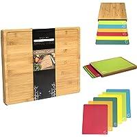 Tagliere in legno di bamb ugrave  7 nbsp in 1 nbsp extra large con set di 6 tappetini colorati codificati per alimento in polipropilene  dimensioni  420 x 340 x 35 nbsp mm   La scelta dello chef
