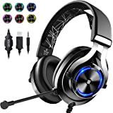 EKSA E3000 Wired Gaming Headset with Stereo Surround Sound, Gaming Chat Headphones with Noise Cancelling Mic, LED Light, Over