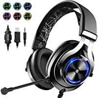 EKSA E3000 Wired Gaming Headset with Stereo Surround Sound, Gaming Chat Headphones with Noise Cancelling Mic, LED Light…