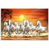 Masstone Lucky Seven Horses Running Vastu Paper Poster ( Multicolour , 12x18 inch)