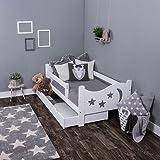 Leomark Holz Einzelbett mit Matratze Lattenrost Liegefl/äche 70//140 cm Kinderbett mit Schubladen f/ür Bettw/äsche Dogs Komplett Set UV-Druck