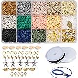 Potosala - Perline piatte fatte a mano, in argilla polimerica, 6 mm, 2600 pezzi, fatte a mano, per bracciali, orecchini, coll
