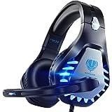 Pacrate Auriculares estéreo para Juegos para PS4, Xbox One, PC con micrófono con cancelación de Ruido - Sonido Envolvente - M