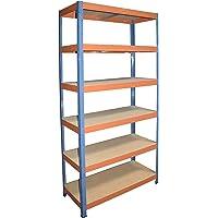 shelfplaza® PRO Étagère modulaire bleu-orange de 200x90x50 cm avec 6 tablettes - entrepôts garage grenier atelier maison…