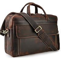 TIDING Herren Laptoptasche 17 Zoll Leder Business-Tasche Aktentasche Schultertasche große Ledertasche zum Umhängen…