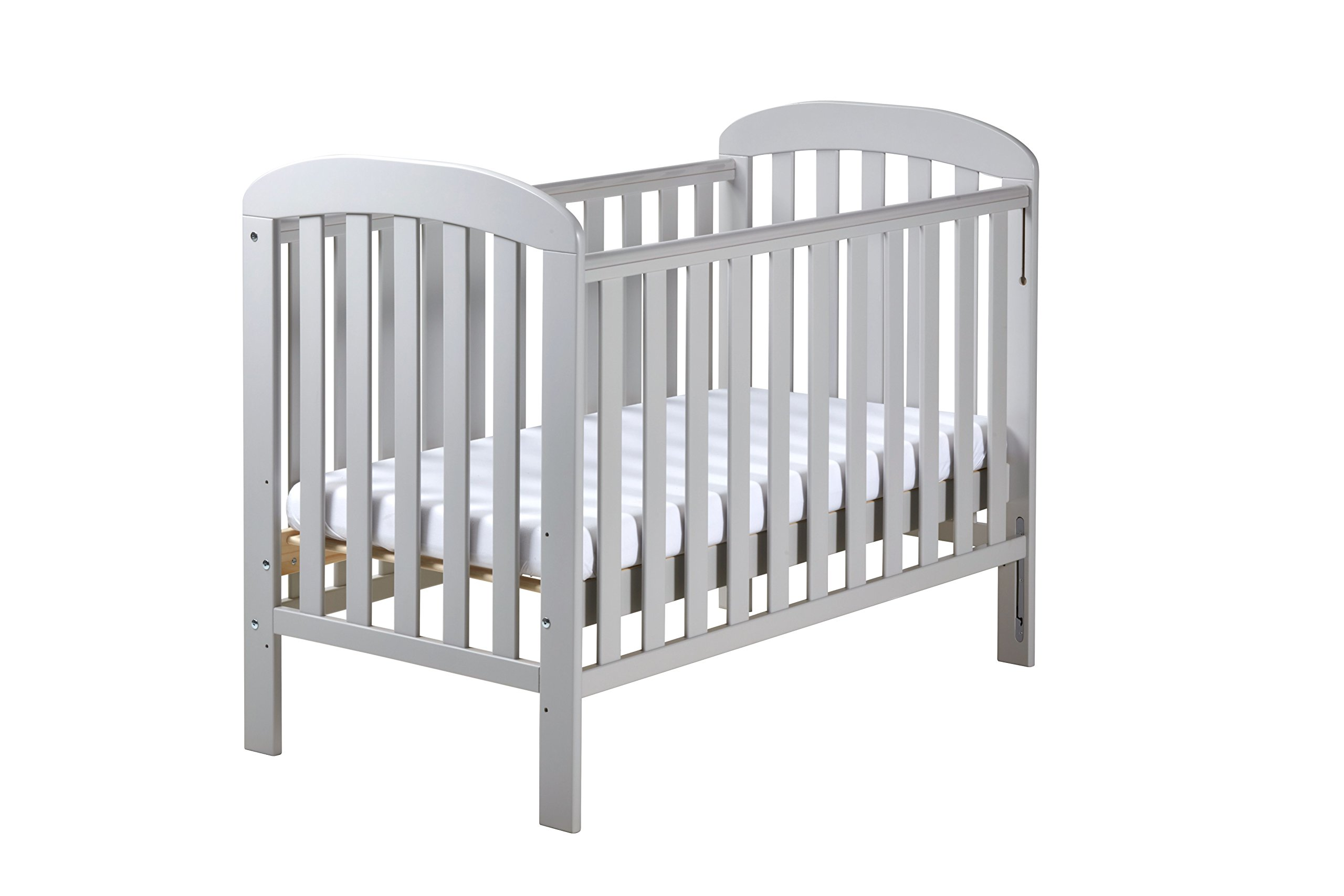 East Coast Nursery Anna Dropside Cot, Grey East Coast Nursery Ltd Single handed dropside 2 protective teething rails 3 base heights 1