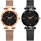 DAMIT Analog Women's & Girl's Watch (Black Dial, Black & Beige Colored Strap) (Pack of 2)