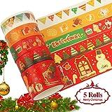 5 rollen kerst Washi Tape, Washi Tape Set Vintage goudfolie Scrapbooking Tape, kleurrijke zelfklevende decoratieve kersttape
