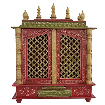 Attractive Buy Home Temple/ Wooden Temple/ Pooja Mandir/ Mandap/ Temple For Home With  LED BULB INSIDE FREE POOJA THALI, GOD PHOTO FRAME Online At Low Prices In  India ...