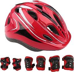MagiDeal 7 Pieces Kid Children Safety Helmet Knee Wrist Elbow Pad Sets for Roller Skating Bike Skateboard Scooter - red