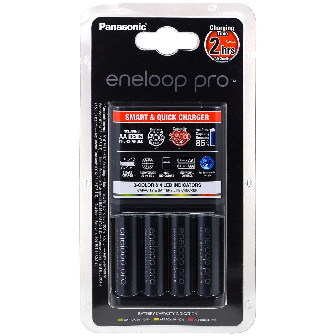 Caricabatterie Panasonic eneloop BQ-CC55E incl. 4 batterie AA eneloop Pro 2500mAh