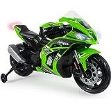 INJUSA – Moto Ninja Kawasaki ZX10 a 12V con Acelerador en Puño, Entrada para Mp3 y Ruedas Estabilizadoras Recomendada a Niños