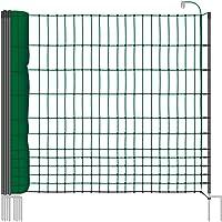 VOSS.farming 25 m Hundezaun, Katzenzaun, Hühnerzaun, Geflügelzaun, Geflügelnetz, 112 cm, 9 Pfähle, 2 Spitzen, grün Classic
