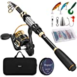 Magreel Telescopic Fishing Rod and Spinning Reel Combo Set with Fishing Line, Fishing Lures Kit & Accessories and Carrier Bag