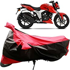 Adroitz Bike Body Cover for Tvs Apache RTR 160 4V with Mirror Pocket and Wide Stripe in Matte Black & Red
