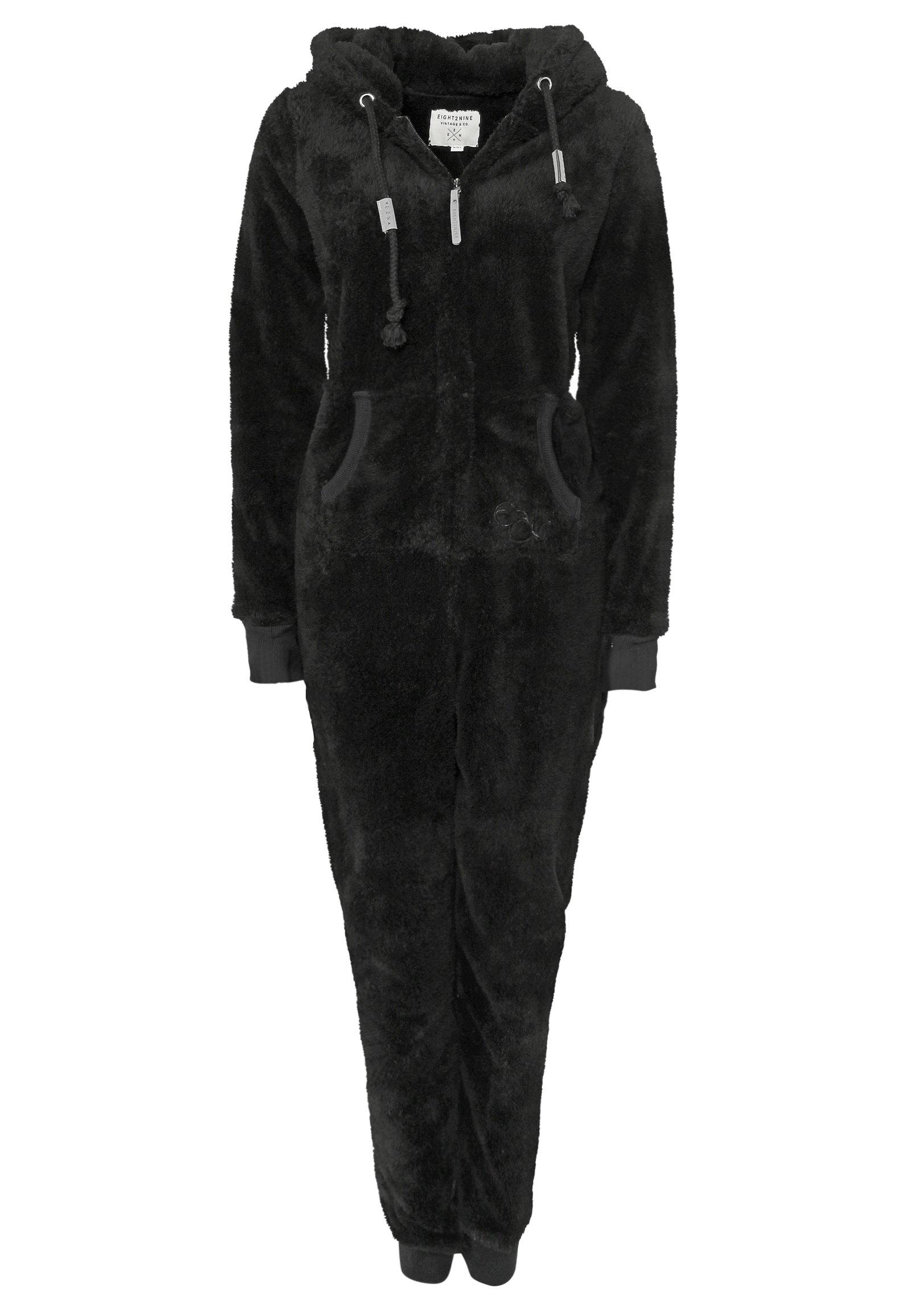 Eight2Nine Damen Jumpsuit Overall aus Teddy Fleece mit Ohren