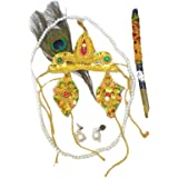 Kaku Fancy Dresses Krishna Jewellery for Kids/Janmashtami/Bal Gopal Dress/Kanha Accessories/Bal Krishna Mukut/Krishna Sringar