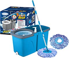 Primeway Pw710Mn_B Twin Bucket Spin Magic Mop with 2 Microfibre Refills 38cm, 6 LTR, Blue