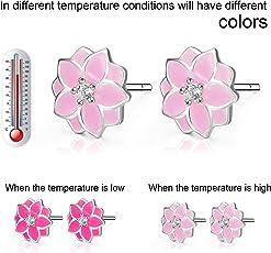 Ohrringe für Mädchen Sterling Silber Rosa Emaille Blume Ohrstecker Schmuck Farbe ändern je nach Temperatur