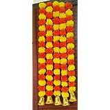 DUSSLE DORF Artificial Marigold Fluffy Flowers with Hanging Bells Garlands Door Toran Set/Door Hangings for Decoration (2.5ft