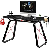 Mahmayi GT010 Modern Racing Style Gaming Table, Carbon Fiber PVC on MDF with Gear hook, Cup holder and Controller holders - B