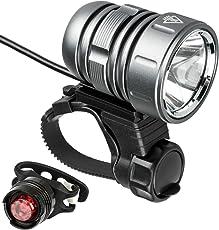 LED Fahrradlicht Set, USB Wiederaufladbare Fahrradbeleuchtung Super Helle 1200 LM Frontlicht Taschenlampe mit Akku Pack und Rücklicht