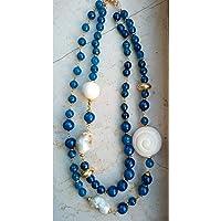 collana nuova collezione doppio filo fatta a mano con pietre dure di agate blu e perle scaramazze. Handmade