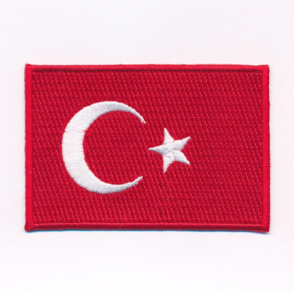 hegibaer 60 x 35 mm Türkei Flagge Türkiye Cumhuriyeti Patch Aufnäher Aufbügler 0633 B