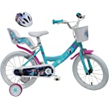 Disney Frozen Fietsfiets, 16 inch, 2 remmen, deur, claxon, achter + helm, fiets, kinderen, meerkleurig, 40,6 cm (16 inch)