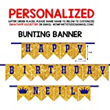 WoW Party Studio Personalized Royal Prince Crown Theme Party Happy Birthday Decorations Bunting Banner with Birthday Boy/Girl
