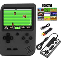 HMEDA Handheld Game Console, Retro Mini Game Player with 500 Classical FC Games 3.0-Inch Color Screen Support for Connecting TV & 2 Players 1020mAh Rechargeable Battery Present for Kids/Adult (Black)