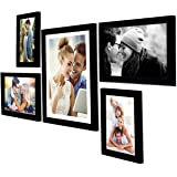 Art Street - Set of 5 Individual Black Wall Photo Frames Wall Hanging (Mix Size)(2 Units 5x7, 2 Units 6X10,1 Unit 10X12 inch)