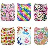 Alva Baby Lot de 6 Couches réutilisables lavables en tissu + 12 inserts