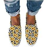 BIBOKAOKE Stoffschuhe Damen Farbdruck Segelschuhe Casual Slip On Faule Schuhe Komfortabel Bootsschuhe Sommerschuhe Halbschuhe