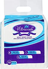 Ultrasoak Adult Brief Diapers - Pack of 10, Large
