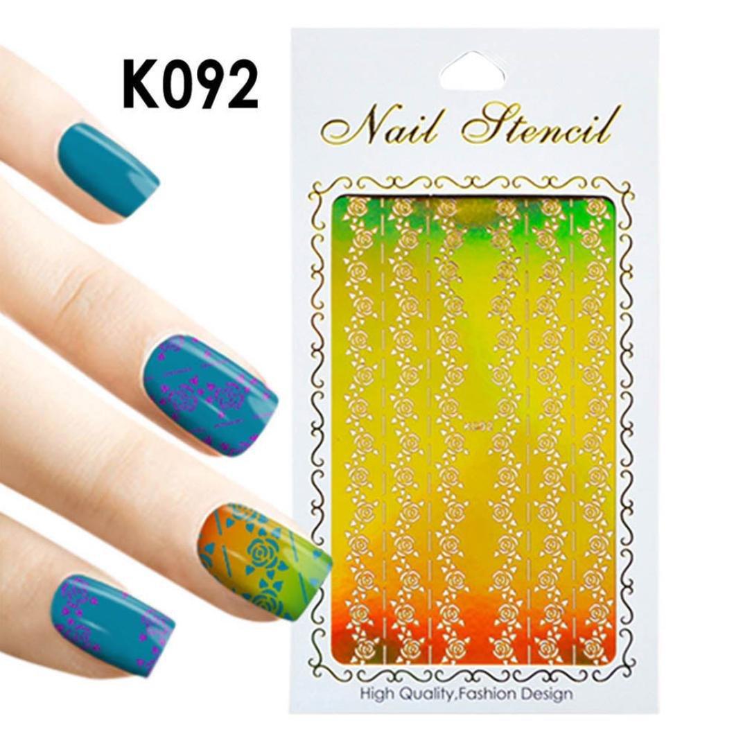 samLIKE nagel sticker,1 Stück Unregelmäßige Hohl Nail art Vinyls ...