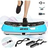 ANCHEER Vibrationsplatte Oszillierend 3D JF-C04, Vibrationsgeräte Fitness mit Dual-Motoren, einmaligen Curved Design, Color Touch Display, inkl. Trainingsbänder + Fernbedienung