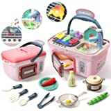 Toys Bhoomi Kids Play Kitchen Picnic Playset,Portable Picnic Basket Toys with Musics & Lights,Color Changing Play Food, Kitch