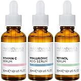 PraNaturals Skin Perfector Face Serums Kit 3x30ml, Hyaluronzuur, Retinol & Vitamine C, Huidverzorging Tegen Veroudering, Verw